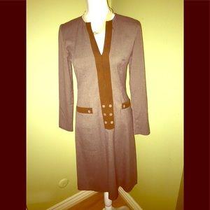 LEONA EDMISTON Brown Tweed & Suede Dress-Size XS